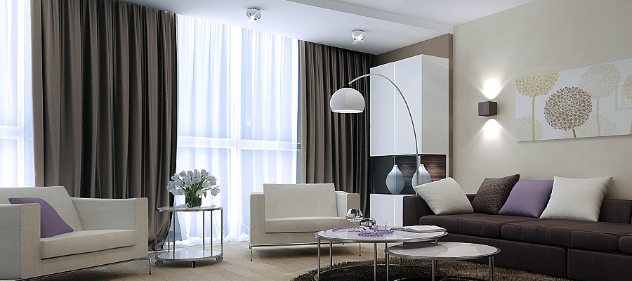 Часто используемые цвета для штор в гостиной фото